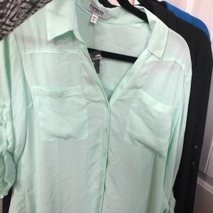 Express portfolio shirt. Mint color